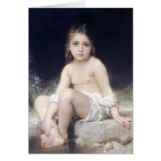 Bouguereau - au menudo Bord de l'Eau de Fille Tarjeta De Felicitación