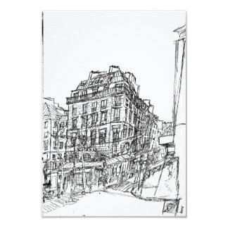 Boulevard Paris arquitectura Bohemia calle existe  Invitación 8,9 X 12,7 Cm