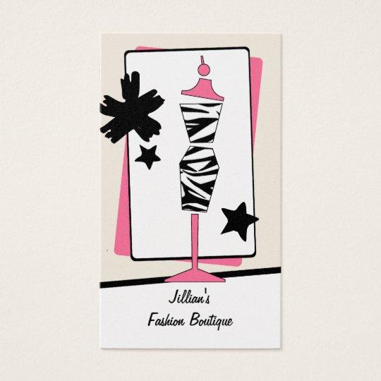 Boutique de la tienda de ropa - forma del vestido tarjeta de negocios