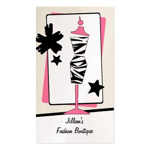 Boutique de la tienda de ropa - forma del vestido tarjetas de visita