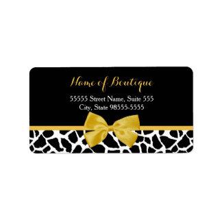 Boutique de moda de la moda del arco del amarillo etiqueta de dirección