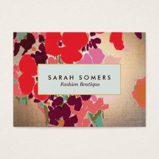 Boutique elegante floral colorido artístico de la tarjeta de negocios