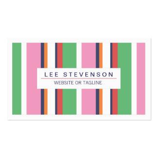 Boutique rayado rosado y verde lindo, de la tarjetas de visita