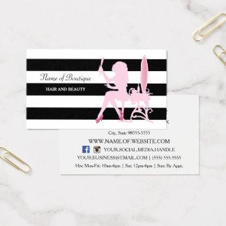 Boutique rosado elegante del pelo de las rayas tarjeta de visita
