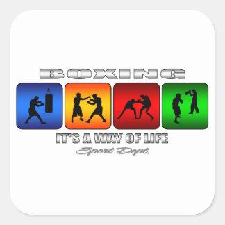 Boxeo fresco es una manera de vida pegatina cuadrada
