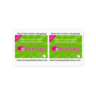 Boxtops para los pegatinas de la educación etiquetas de dirección