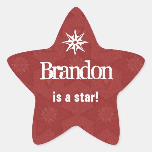 BRANDON es una estrella - estrella roja conocida Pegatina Forma De Estrella Personalizada