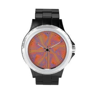 Brazos espirales rosados y violetas anaranjados reloj de mano