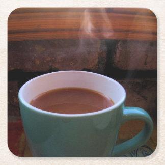 Brew de la mañana - café o té - práctico de costa posavasos desechable cuadrado