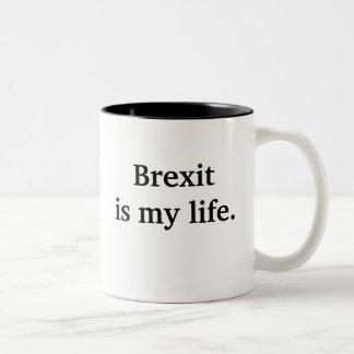 Brexit es mi vida - cita política divertida taza bicolor