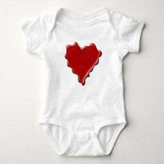 Briana. Sello rojo de la cera del corazón con Body Para Bebé