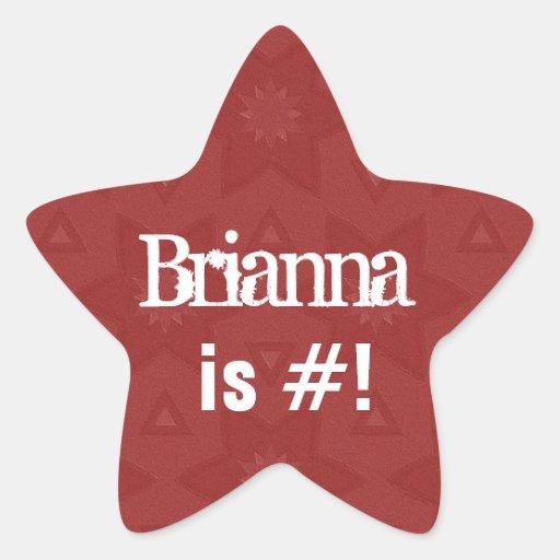 BRIANNA - Estrella roja conocida de encargo G503 Calcomanía Forma De Estrellae