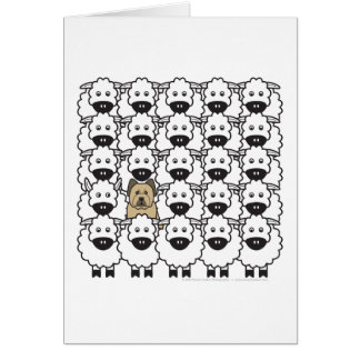 Briard en las ovejas tarjeta