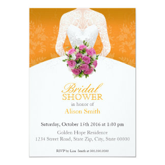 Bridal Shower orange invitation Anuncio Personalizado