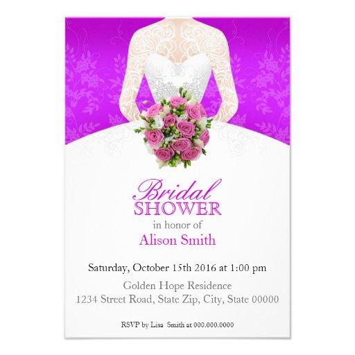 Bridal Shower purple invitation Comunicado