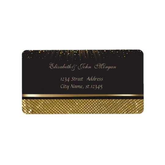 Brillante negro elegante atractivo elegante, etiqueta de dirección