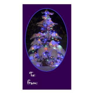 Brillantemente árbol de navidad nevado del Lit Tarjetas De Visita