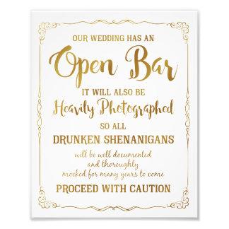 Brillo abierto del oro de la muestra del boda de fotografias
