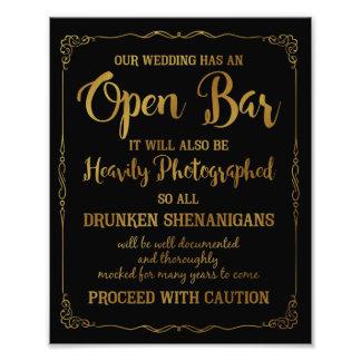 Brillo abierto del oro de la muestra del boda de impresiones fotográficas
