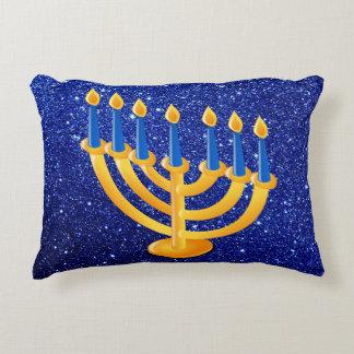 Brillo azul de Menorah del oro falso Cojín Decorativo