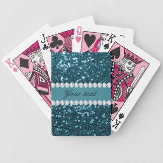 Brillo azul y diamantes del trullo oscuro falso baraja de cartas bicycle