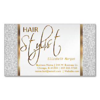 Brillo blanco elegante y oro - estilista tarjetas de visita magnéticas