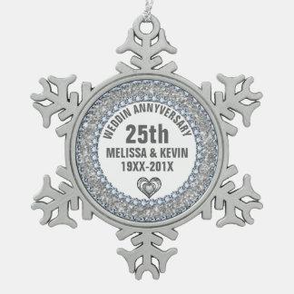 Brillo blanco y aniversario de los diamantes 25to adorno de peltre en forma de copo de nieve