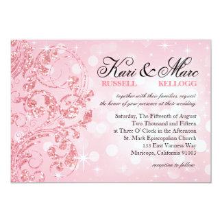 Brillo Bokeh de lujo del encanto que casa el rosa Invitación 12,7 X 17,8 Cm