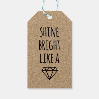 Brillo brillante como etiquetas del diamante de un etiquetas para regalos