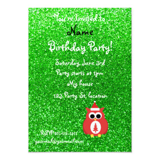 Brillo conocido personalizado del verde del búho invitación 12,7 x 17,8 cm