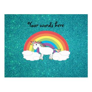 Brillo de la turquesa del unicornio del arco iris postales