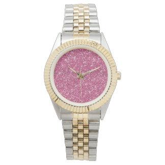 Brillo de las rosas fuertes impreso relojes de pulsera