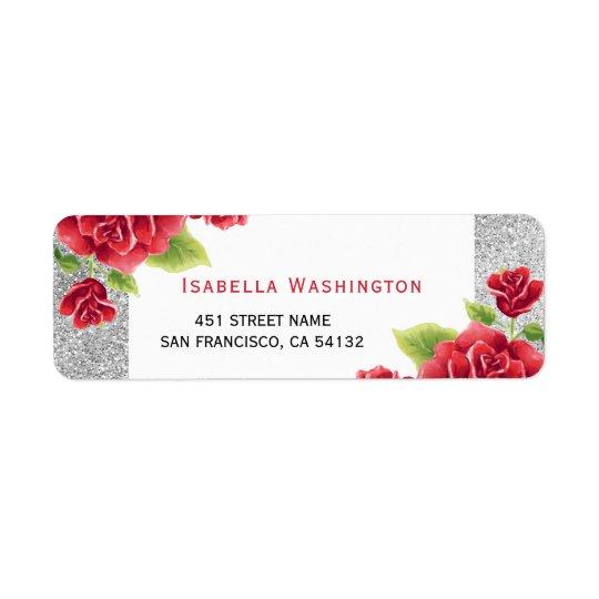 Brillo de los rosas rojos y de la plata de la etiqueta de remitente