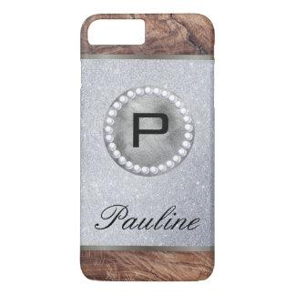Brillo de madera de la perla del monograma funda iPhone 7 plus