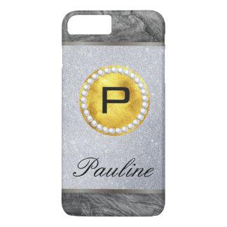 Brillo de madera de la perla del oro del monograma funda iPhone 7 plus