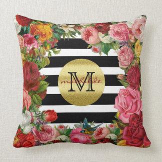 Brillo de moda del oro de las flores de los rosas cojín decorativo