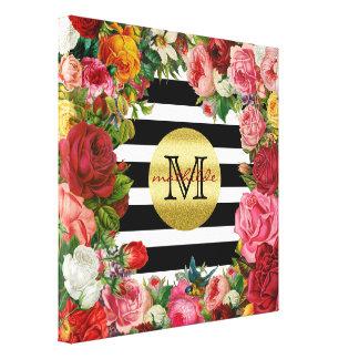 Brillo de moda del oro de las flores de los rosas lienzo