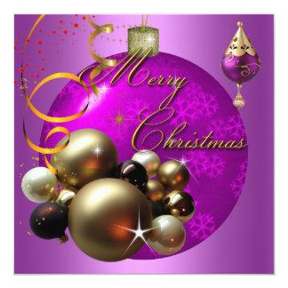 Brillo de Navidad del rosa del oro de la fiesta de Invitación 13,3 Cm X 13,3cm