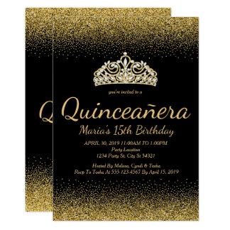 Brillo de oro, invitaciones de Quinceanera Invitación 12,7 X 17,8 Cm