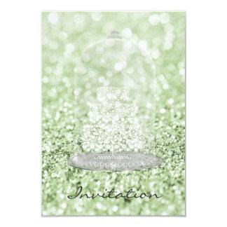 Brillo de plata del Vip de la torta del diamante Invitación 8,9 X 12,7 Cm