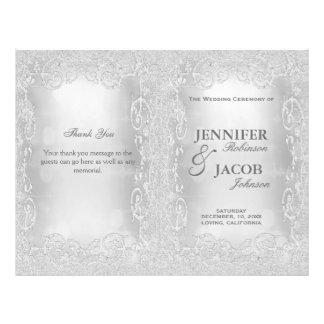 Brillo de plata elegante del programa del boda folleto 21,6 x 28 cm