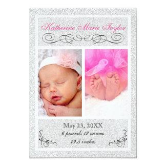 Brillo de plata - invitación del nacimiento