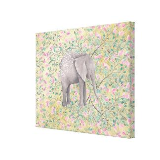 Brillo del oro de las flores del elefante de la impresión en lienzo