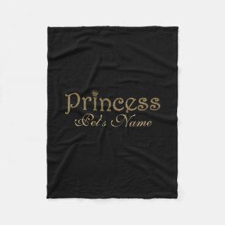 Brillo del oro en princesa personalizada negro Pet Manta De Forro Polar
