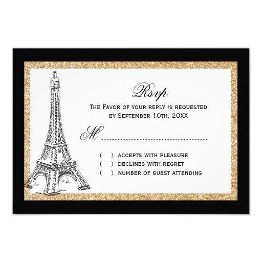 Brillo del oro - torre Eiffel que casa las tarjeta Invitacion Personalizada
