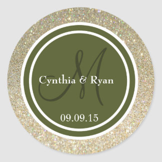 Brillo del oro y monograma del boda del verde pegatina redonda