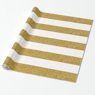 Brillo del oro y papel de embalaje rayado blanco papel de regalo