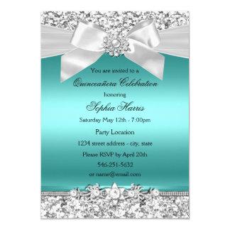 Brillo del trullo y arco de plata Quinceanera de Invitación 12,7 X 17,8 Cm