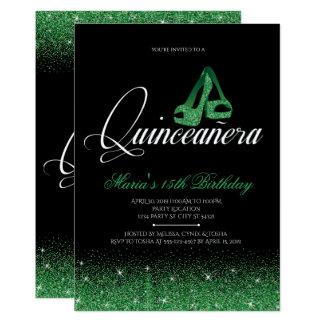 Brillo esmeralda, invitaciones de Quinceanera Invitación 12,7 X 17,8 Cm