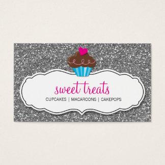 Brillo lindo de la plata del rosa de la magdalena tarjeta de negocios